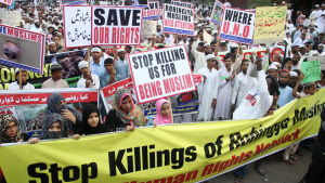 Pakistanska demonstranter protesterar mot Burmas behandling av rohingyas i Karachi 9.12.2016