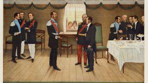 Snellman presenteras för kejsar Alexander II åe 1863.