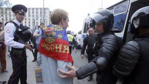 En aktivist greps av polisen då han försökte ta sig till Tverskaja-gatan i Moskva