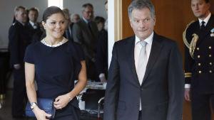Kronprinsessan Victoria och president Sauli Niinistö vid minnesceremoni i Stockholm.
