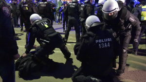 Polisen ingriper mot dememonstranter på Finlands självständighetsdag.