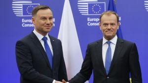 Polens president Andrzej Duda välkomnas av Europeiska rådet ordförande Donald Tusk i Bryssel på måndagen