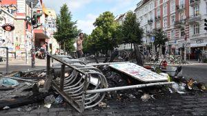 Omfattande demosntrationer och förstörelse i distriktet Schanzenviertel i Hamburg under G20-mötet