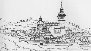 Åbo domkyrka sedd från norr 1785. Pennteckning av Louis Jean Desprez (detalj). I kyrkan prästvigdes Pehr Stenberg 1786.