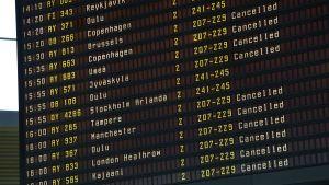 Lista över inhiberade flyg på Helsingfors-Vanda under strejk