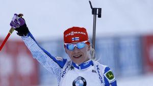 Kaisa Mäkäräinen hade all anledning att le.