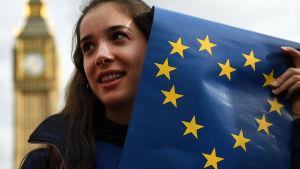 En demonstrant protesterar mot brexit utanför det brittiska parlamentet.