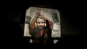 En väggmålning av den kände palestinska ledaren och politiska fången Marwan Barghouti som var en av dem som deltog i hungerstrejken