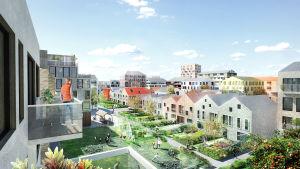 en illustration av det planerade bostadsområdet i Sandviken i Vasa. På bilden ser man en rad av så kallade town houses med grönområden framför sig.