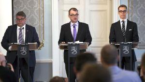 Regeringsförhandlarna på informationstillfälle i Smolna.