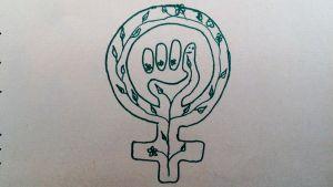 kvinnosymbol med knytnäve och gröna blad teckand med tusch på papper