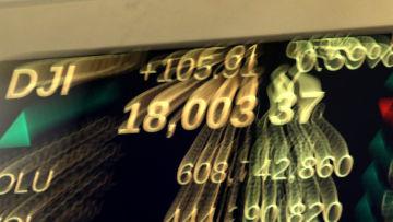 Dow Jones över 18 000 för första gången sedan sommaren 2015.