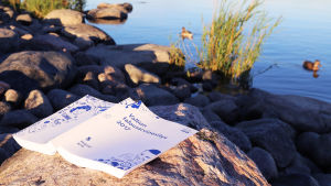 Statsbudgetförslaget 2017 på klipporna vid stranden.