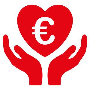 Två tecknade händer lyfter upp ett hjärta med ett eurotecken i sig.