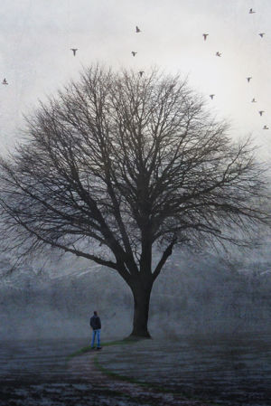 Maalaus miehestä puun alla