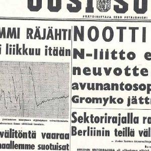 Uusi Suomi -lehden etusivu 31.10.1961