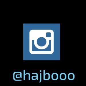 Instagrams logo och Hajbos profilnick @hajbooo