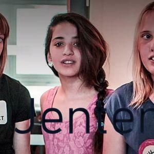 Tre flickor ur dramaserien Jenter