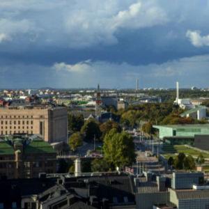 Yläilmoista otettu kuva Töölönlahden suuntaan