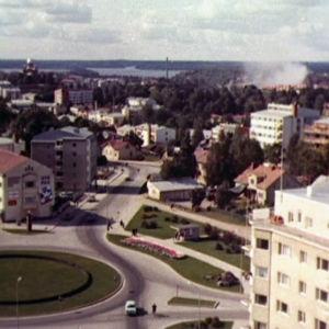 Lappeenrannan keskustaa ilmakuvassa 1961
