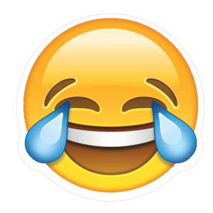 Den skrattgråtande smileyn, månen och apan som täcker för ögonen.