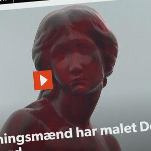 Skärmdump från Danmarks Radio webbplats av den rödmålade skulpturen.