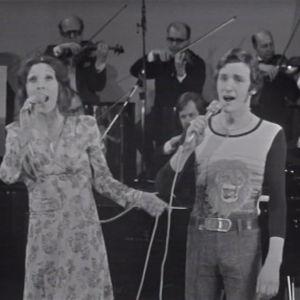 Muska ja Ykä (George) Babitzin esiintyvät Euroviisukarsinnassa 1974