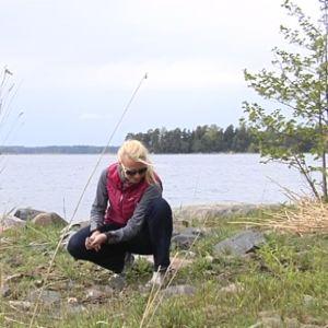 Angelica Heldt plockar stenar på stranden