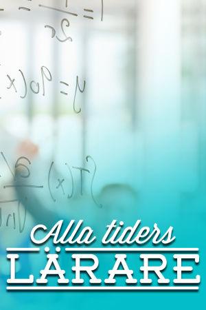 Glad matematiklärare räknar vid tavlan.