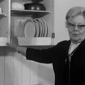 Astiankuivauskaapin keksijä Maiju Gebhart esittelee keksintöään.