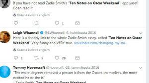 Twitter viestejä  Zadie Smithin kirjoituksesta Ten notes on Oscar weekend