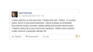 Kuvakaappaus Sauli Niinistön Facebook-päivityksestä.