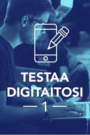 Tekstit: Digitreenit, Testaa digitaitosi 1, yle.fi/oppiminen. Valokuvassa mies istuu kannettavalla tietokoneella.