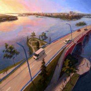 Vision över en bro över Stadsfjärden