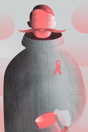 animerad bild av människa med sparbössa