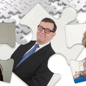 Bildcollage som visar Arja Juvonen, Paavo Väyrynen, Kike Elomaa