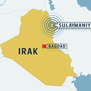 Karta över Irak med Sulaymaniyya utmärkt.