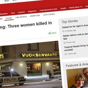 BBC rapporterade om dödsskjutningen i Imatra den 4 december 2016.