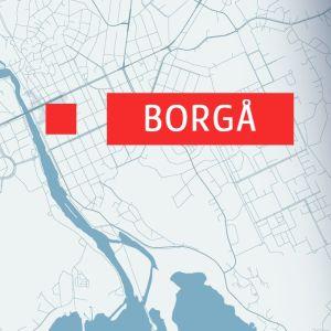 Karta över Borgå centrum och olycksplats