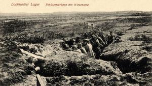 Gammalt vykort av skyttegravar på övningsområdet vid Lockstedter Lager