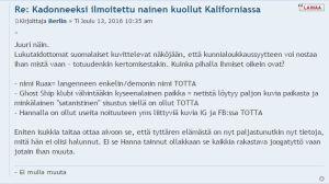 Näthatande inlägg mot Hanna Ruax och hennes far Yrjö Timonen på forumet Murha.info.