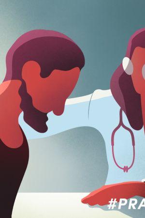 animerad läkare och patient