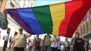 Regnbågsflaggan var förstås framträdande i paraden