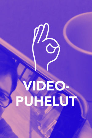 Digitreenien pääkuvapohja. Tekstit: Viedopuhelut, Digitreenit, yle.fi/oppiminen. Taustakuvassa nainen kännykän videopuhelun kuvassa.