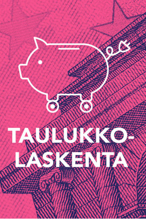 Tekstit: Taulukkolaskenta, Digitreenit, yle.fi/oppiminen. Taustakuvassa 5 euron seteliä.