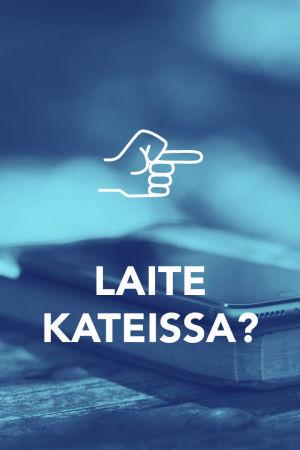 Tekstit: Laite kateissa?, Digitreenit, yle.fi/oppiminen. Kuvassa kännykkä ulkona pöydällä.