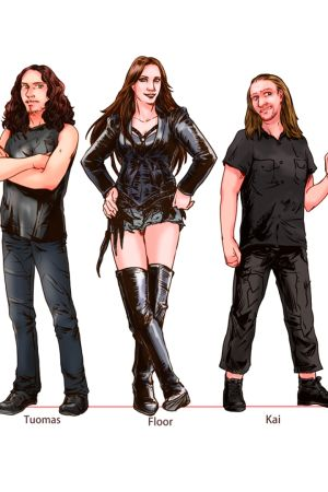 Japanilaisen Ritsuko Aoyaman näkemys Nightwishin jäsenistä To Nightwish with Love -dokumentissa.