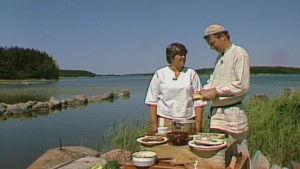 Sirkka Gustafsson ja Jaakko Kolmonen rantamaisemissa