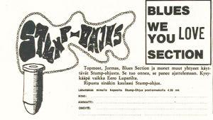 """""""Stump-ohjus""""-riipuksen mainos Stump-lehdessä 1967."""