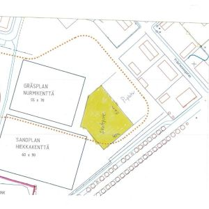 En karta över var den plnaerade skateparken kunde byggas i Karis